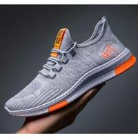 Sepatu pria sneaker running shoes fearlees run RR01 - abu,striporange, 39