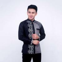 baju koko pria/kombinasi batik / lengan panjang pria terbaru-moderen - Hitam, M