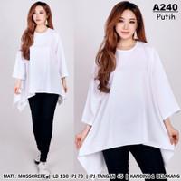 Baju wanita big size/Atasan jumbo xxxxl/Blouse muslimah putih cantik