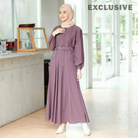 Baju Gamis Syari Wanita Terbaru Monna Belt Dress Murah