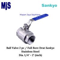 Ball Valve Screw Dia. 1 1/2 SANKYO 2 pc Full Bore / Kran Drat SS316