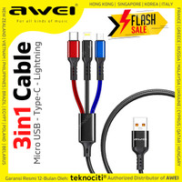 AWEI 3-in-1 Cable Type-C Lightning Micro USB - Kabel Fast Charge 2.4A