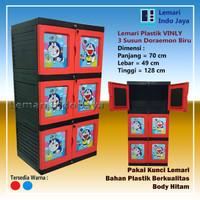 Lemari Plastik 3 Susun Doraemon Vinly (Merah dan Biru) - Merah