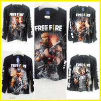 Kaos Baju Anak Ff Free Fire Hitam Lengan Panjang Long Slevee Ep Ep Gam