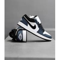 Sepatu Nike Air Jordan 1 Low Black Navy White Biru Dongker Sneakers