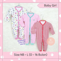 3 baju sleepsuit bayi buka kaki bayi perempuan 0 6 12 bulan lucu sni