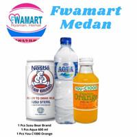 1 pcs bear brand steril+1 pcs you c1000 orange botol+1 pcs aqua 600 ml