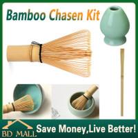 chasen bamboo whisk +Stand dudukan keramik + Scoop Pengaduk Matcha Teh