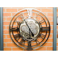 Jam Dinding / Clock Model Metal Romawi - Hitam - Diameter 80 cm