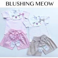 Blushing Meow Suit / Setelan Bayi Perempuan Lucu Murah / Baju Bayi