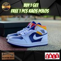 Sepatu Nike Air Jordan 1 Mid Loyal Blue Laser Orange Ukuran 40 - 45