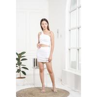 Setelan Rok Wanita   Mini Dress Sexy Bodycon   Baju Cewek Seksi 0056 - Putih
