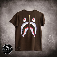 Kaos BAPE A Bathing Ape WGM Shark Purple Brown Tshirt 100% ORIGINAL
