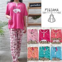 Setelan baju tidur piyama wanita kaos CP jumbo/ XXL- motif Sweet bunny