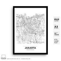 Jakarta City Map Art - Poster Peta Bingkai A3 Minimalis Wall Decor