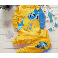 Setelan Sweater Anak Laki Laki Baju Anak Laki Laki Set Babyshark Anak - Kuning, S 1thn