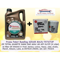 Paket Oli TOTAL QUARTZ 20W-50 & Filter Mobil DATSUN GO & GO+ & CROSS