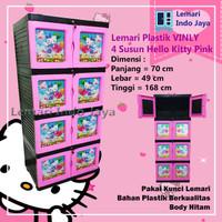 Lemari Plastik 4 Susun Vinly Hello Kitty (Pink dan Biru) - Merah Muda