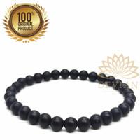 (Terlaris) Gelang Batu Natural Black Onyx Mate 6mm