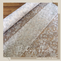 Kain Bahan Kebaya Brokat Tile Mutiara Rose Flower warna Silver