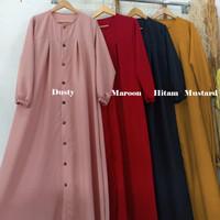 Baju Gamis Syari Wanita Terbaru Aleva Dress Jumbo Full Kancing Murah