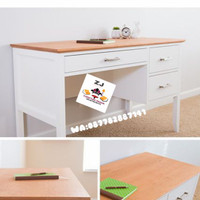 Meja kerja kantor 3 laci kayu jati belanda