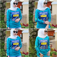 Kaos Wanita Tangan Panjang Six Diary Motif Toska / Style Zolaqu - new toska, M