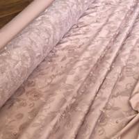 Kain Brokat Bahan Kebaya Tile Mutiara Rose Flower warna Rose Gold