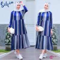 Midi Dress Wanita Muslimah Silvia Bahan Rayon Anmour Ori Shofiya
