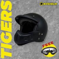 Helm Cakil Modular Tigers Hitam Doff Helm Retro SNI