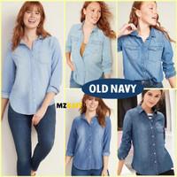 Kemeja Denim Wanita Jumbo Big Size Old Navy Chambray Classic Shirt
