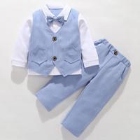 Tuxedo Anak Baju Kondangan Anak Lelaki Aiden Set - Biru, 4-5 tahun