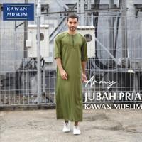 Baju Gamis Pria Dewasa Toyobo Premium Kawan Muslim Lengan 3/4 Army Abu