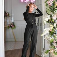 Baju muslim wanita playsuit terbaru raquel overall jumpsuit murah - black