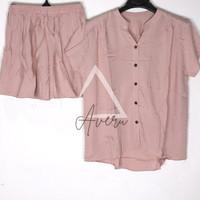 JUMBO Baju Tidur Wanita Piyama Setelan Rayon HP Celana Pendek - Polos