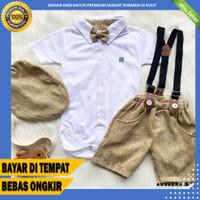 Setelan Anak Bayi Laki Laki Jumper Set Topi Dasi Baju Pesta Anak Cowo