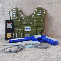 Mainan Rompi Polisi Pistol Tembakan Brimob Borgol Dompet Dll Gegana
