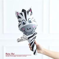 balon pentung animal head / balon foil tongkat stick animal satwa - zebra