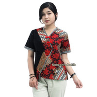 Batik Wanita Atasan Motif Bunga Kombinasi Embos Blouse big size
