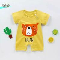 Jumper Romper Lengan Pendek Baju Kodok Bayi Premium Import Korea R1 - Bear kuning
