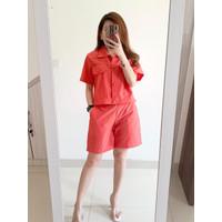 Madeline Set Linen Shirt Short Pants [PREMIUM] - Chilli Brick