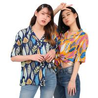 Monellina 50125 Baju Kemeja Atasan XXL Jumbo Lengan Pendek Wanita