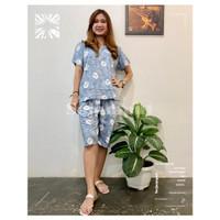 Setelan Baju Tidur Batik- Set Piyama Pendek Motif Jumputan Cerah