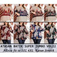 Dress Batik Super Jumbo 432 Bigsize Baju Atasan Wanita Big Size vol22