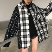 ONNIEFASHION hitam putih warna kemeja wanita Korea kotak wanita