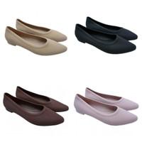 (COD) Sepatu Formal Jelly Karet Wanita Lancip Motif Polos Porto BTS