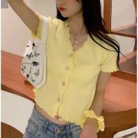ONNIEFASHION Baju rajut lengan pendek wanita high waist pendek atasan - Kuning