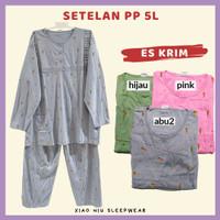 Setelan Lengan Panjang Jumbo 5L LD 130 / Baju Tidur Kaos Wanita - PP 5L-Es Krim, Hijau