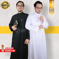 Baju Gamis Jubah Pria Umroh Haji Ihram Katun Soft Denim Ekspor Putih