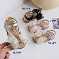 Sepatu Sandal Anak Perempuan Big Ribbon Polkadot TEENAGER - SILVER, 26